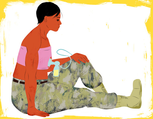 Military Mother pumping breastmilk