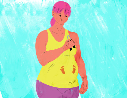 Pregnant mother exercising