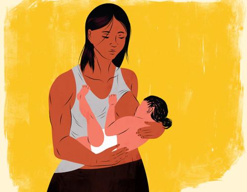 Muscular mother breastfeeding baby