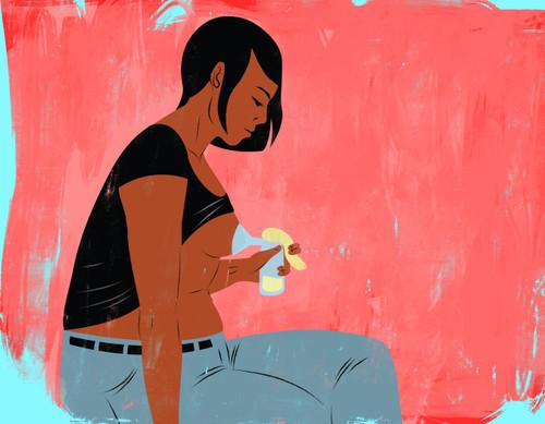 Pumping milk illustration