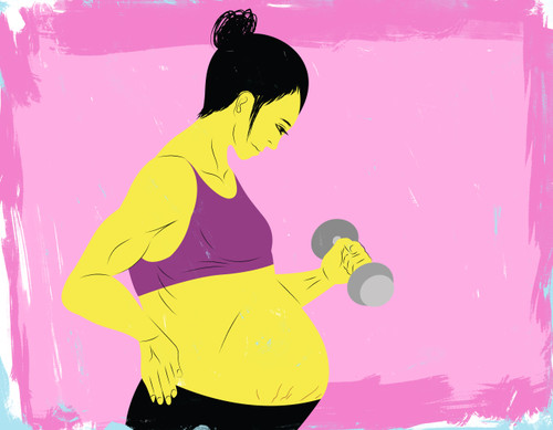 Pregnant mother exercising with weights