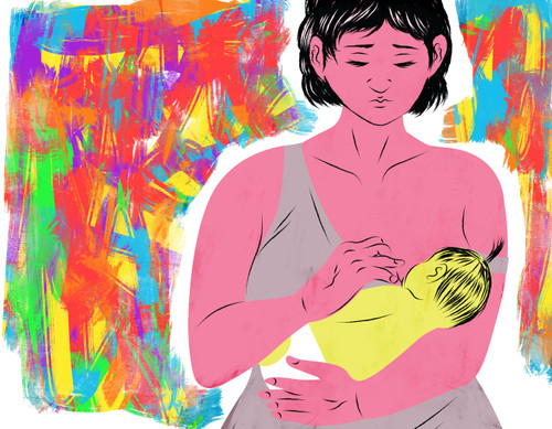 Breastfeeding mother with rainbow-colored background