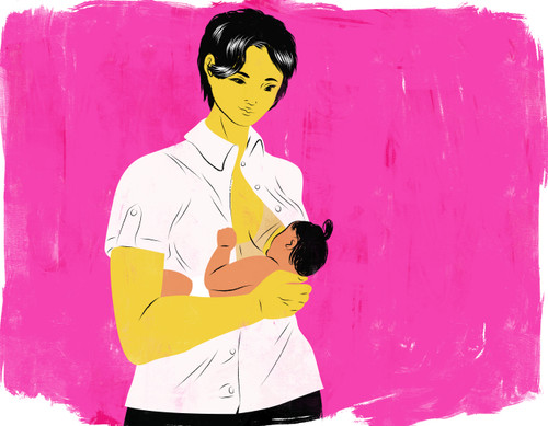 Breastfeeding mother with pink background