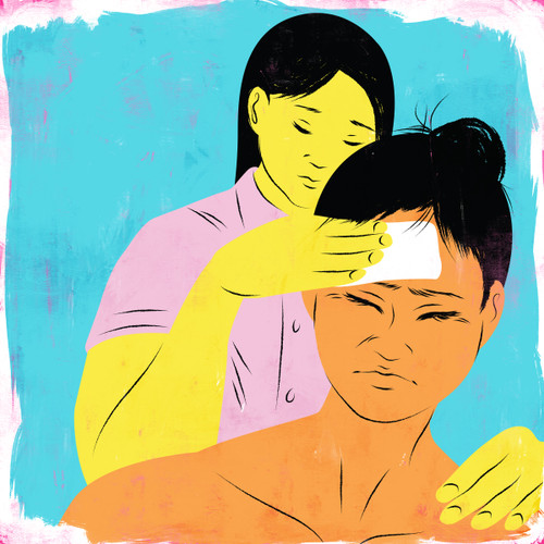 Doula comforting a mother in pain