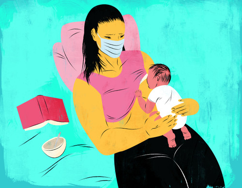 Mother wearing medical mask while breastfeeding