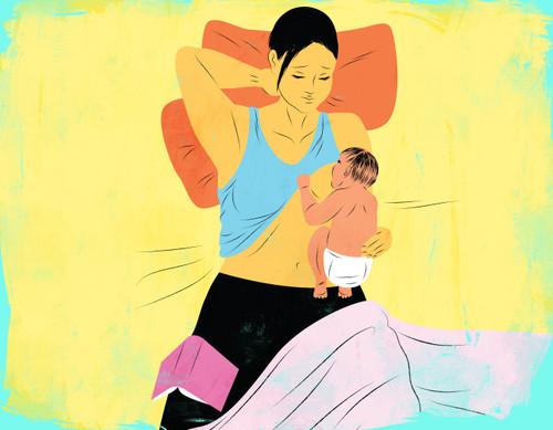 Laid  back breastfeeding illustration