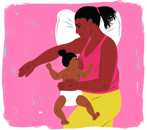 Side lying breastfeeding with pink background