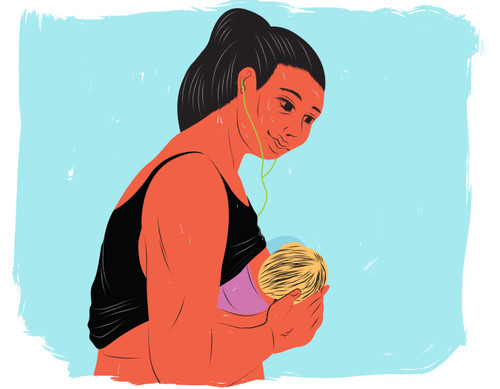 Mother breastfeeding during a sweaty workout