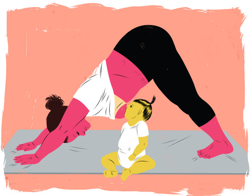 Mother breastfeeding baby during yoga pose