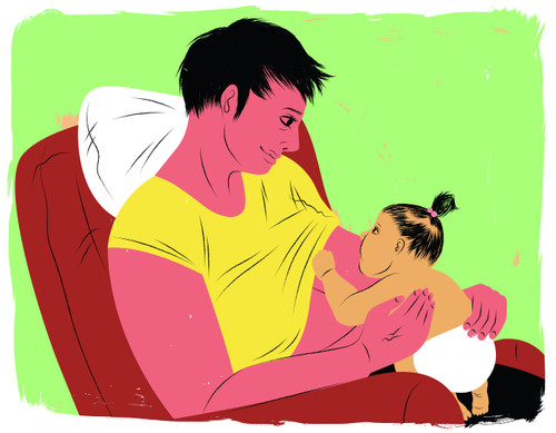 Laid-back breastfeeding in recliner