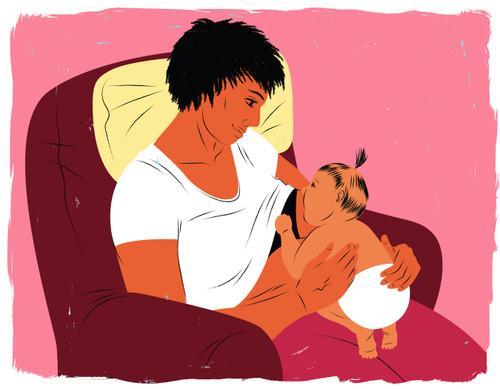 Laid-back breastfeeding in chair
