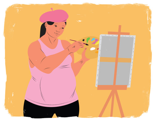 Pregnant woman painting at an easel