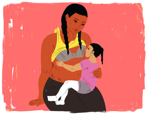 Breastfeeding older child on lap