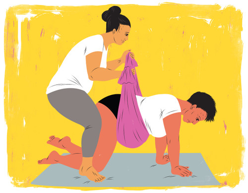 Doula using Rebozo technique to help mother in labor