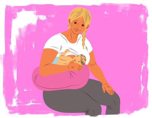 Breastfeeding, football hold with nursing pillow