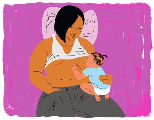 Mother with mastectomy scar breastfeeding