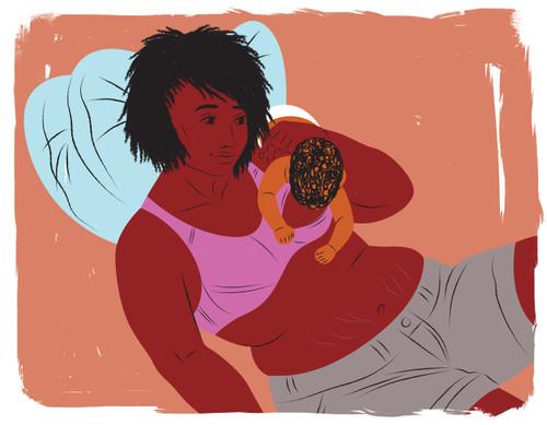 Inverted breastfeeding mother