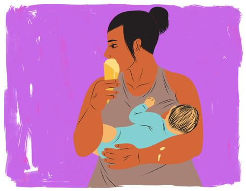 Breastfeeding mother eating ice cream