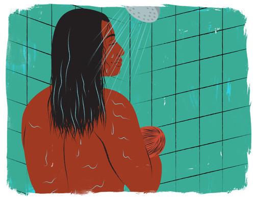 Mother breastfeeding in shower