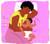 Side-lying breastfeeding mother in bed