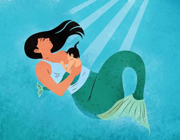 Illustration of a breastfeeding mermaid
