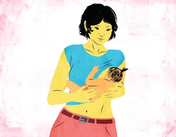 Illustration of a breastfeeding mom