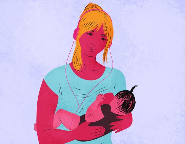 Illustration of a breastfeeding mom with headphones