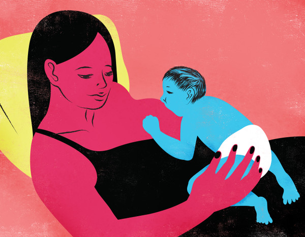 Reclining mother breastfeeding her baby