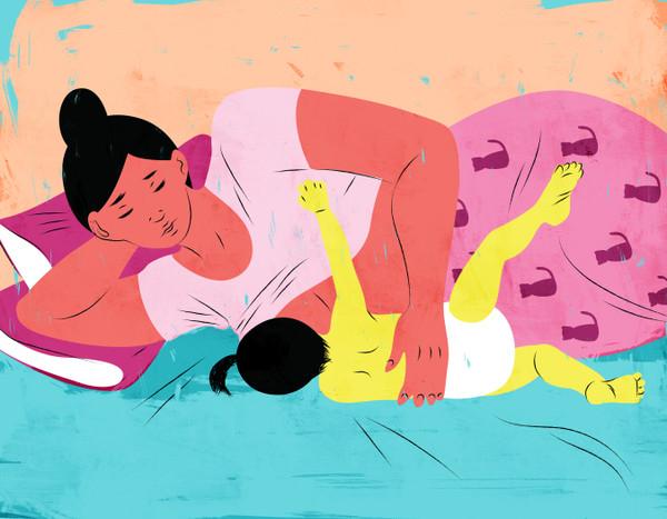 Side lying breastfeeding mother