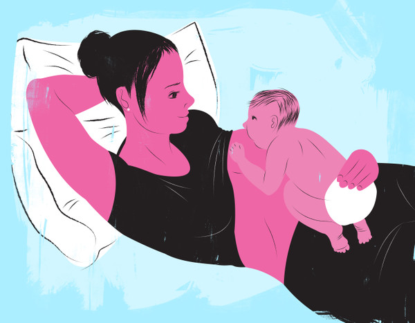 Breastfeeding while laying back
