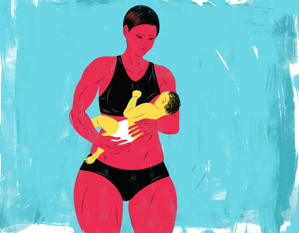 Muscular woman breastfeeding baby