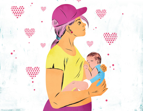 Illustration, mother breastfeeding baby with hearts in the background
