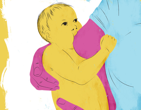 Illustration of a baby at the breast