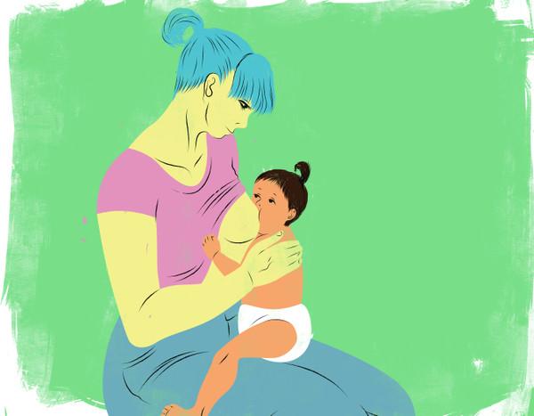 Seating mother breastfeeding child