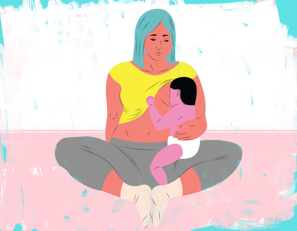 Sitting and breastfeeding mother with blue hair