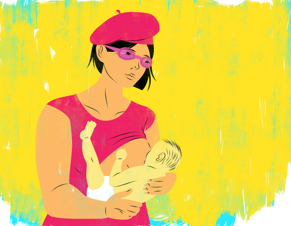 Breastfeeding mother with beret