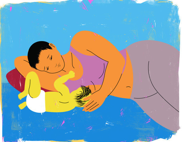 Breastfeeding, inverted side lying position