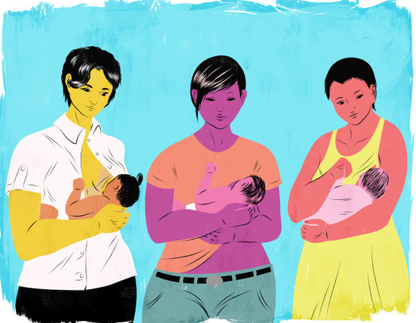 Group of breastfeeding mothers