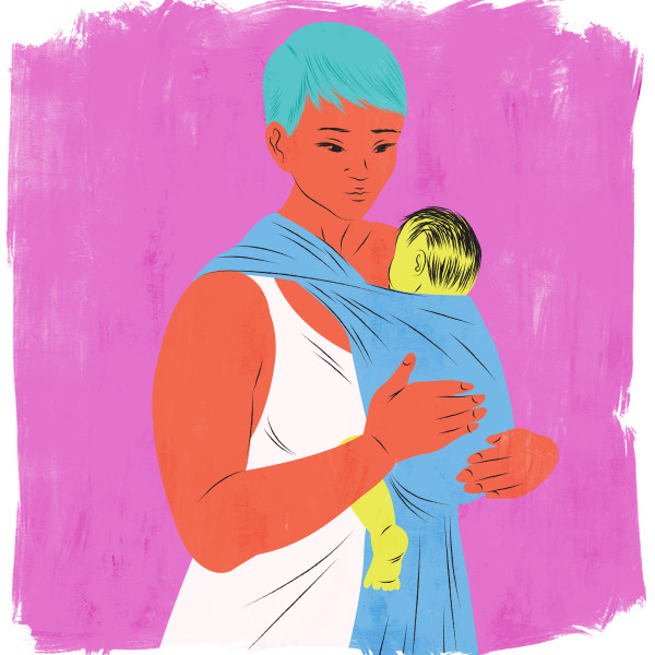 Baby wearing mother sling