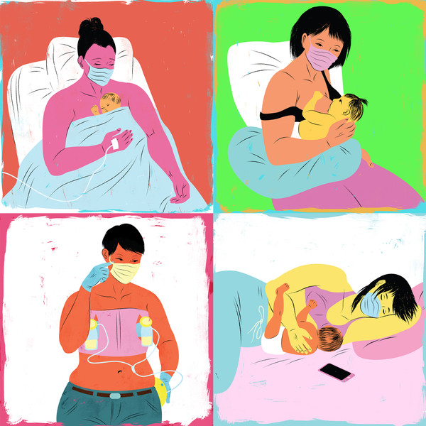 COVID-19 Breastfeeding and Birth illustration bundle