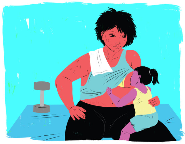 Mother at gym breastfeeding toddler during a break