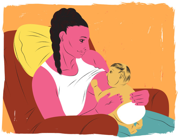 Breastfeeding in laid-back postion, sitting in recliner