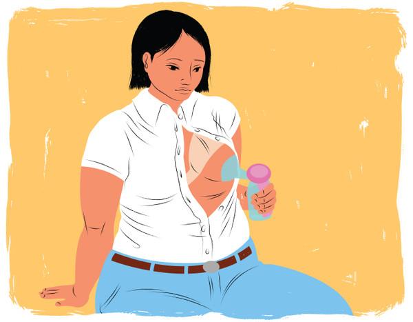 Manually puming breast milk