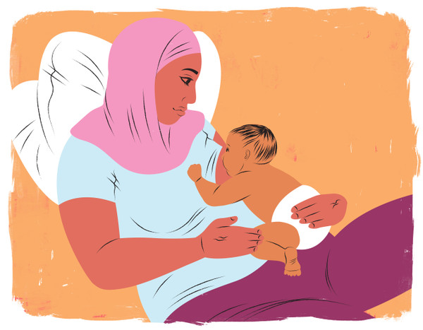 Mother wearing a head covering while breastfeeding