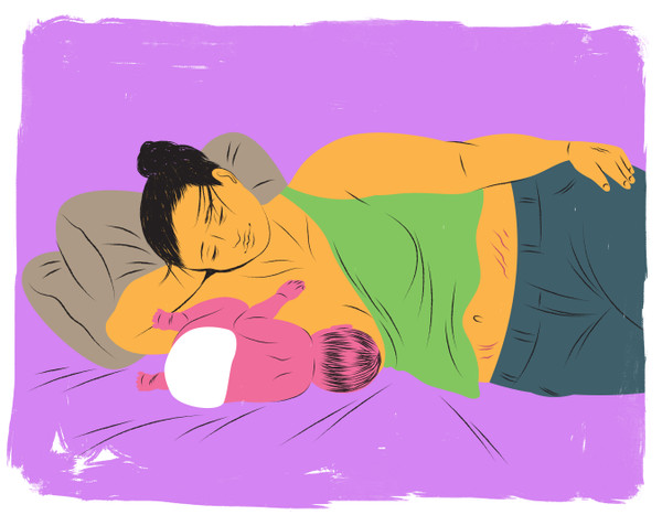 Breastfeeding inverted sidelying position
