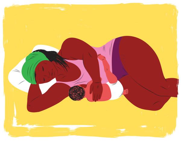 Mother breastfeeding, side lying position
