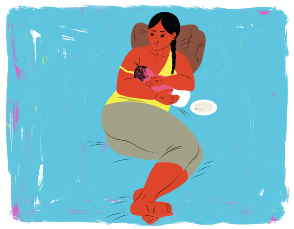 Breastfeeding, side lying cradle position