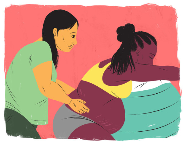 Doula helping mother leaning against birthing ball