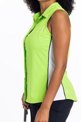 Left side view of the Slimming Sleeveless Splouse Golf Shirt in grass green