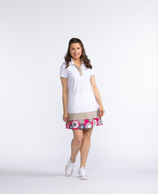 Border Patrol Shortsleeve Golf Dress - White